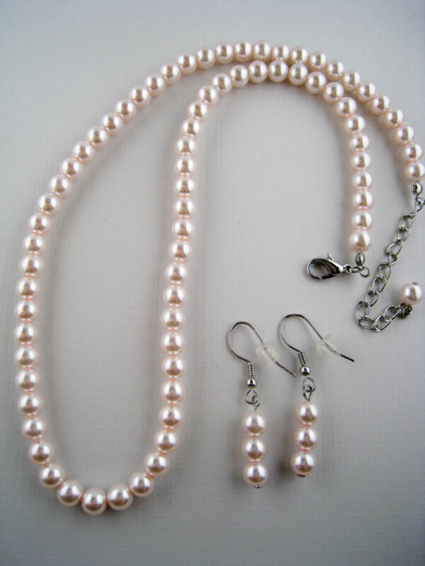 Glass Faux Pearl Necklace and Dangling Triple Faux Pearl Earrings Set