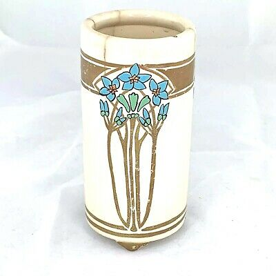 Vintage Robin/'s Egg Blue Hand Painted Delft Trumpet Vase Gorgeous Green Blue Marbled Look In Excellent Condition