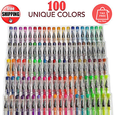 100 Gel Pens Set Glitter Metallic Neon Individual Colors for Kids/Adult Coloring