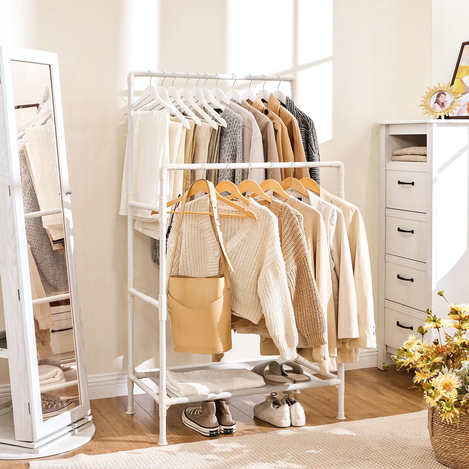Garderobenständer aus Metall, Kleiderständer, 2 Kleiderstangen 1 Ablage RDR01WT