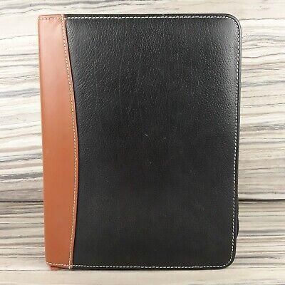 Franklin Quest Leather Planner Zip Binder Rings Black Brown