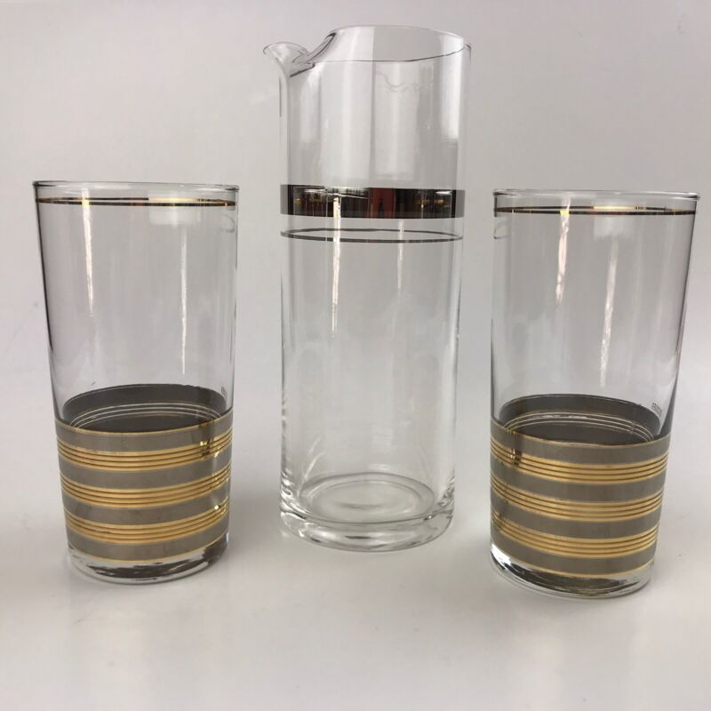 Culver 2 Highball Glasses Gold & Silver Mid Century Barware Cocktail Pitcher