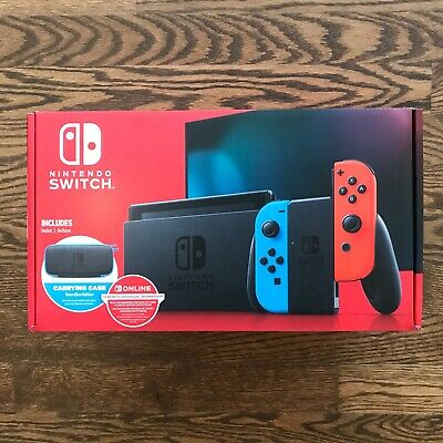 New Nintendo Switch Neon Red/Blue Joy-Con + 12 Month Membership + Carrying Case