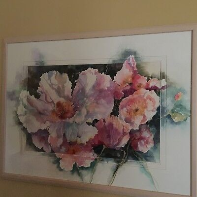 Floral Taft (ELIZABETH TAFT WATERCOLOR FLORAL with paint extended over the mats - free ship)