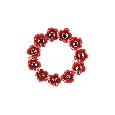 Remembrance Day Small Poppy Wreath Brooch Pin Charity Donation Enamel Gift Idea - Memorial Day Wreath Ideas