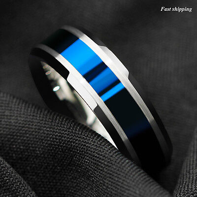 8MM Tungsten Carbide Ring Blue Center silver Brushed Edge Band Ring Mens Jewelry Edge 8mm Tungsten Carbide Ring