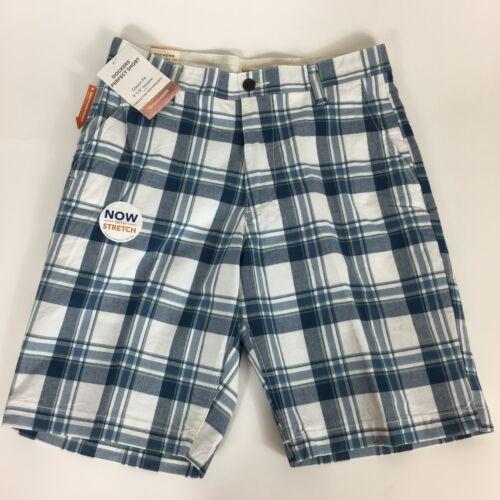 NEW Dockers Men's Classic Fit Flat Front Stretch Plaid Short