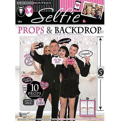 12 Stk Hochzeit Photo Booth Satz Requisiten mit Hintergrund Party Selfie (Photo Booth Hintergrund)