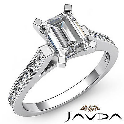 Cathedral Micro Pave Set Emerald Shape Diamond Engagement Ring GIA F SI1 1.25Ct