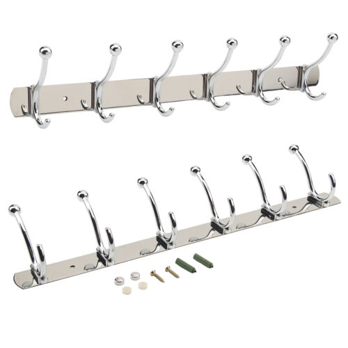 6 To 12 Hooks Coat Hat Clothes Robe Holder Rack Hook Wall