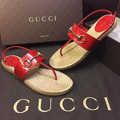 NEW Gucci Espadrille Sandals With Horsebit Detail Hibiscus Red Women's US Size 8