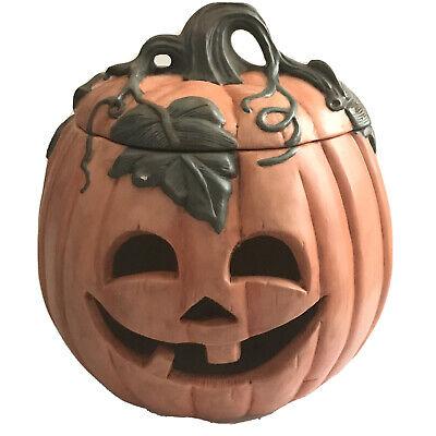 "VTG Large 6lb 4oz Ceramic Jack-O-Lantern 11"" Halloween Pumpkin Terra-cotta Cover"