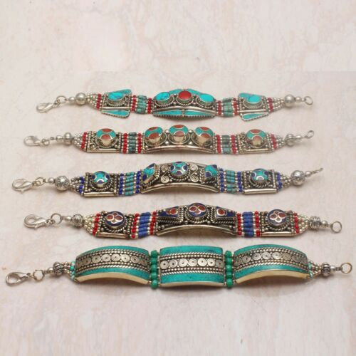 Tibetan Turquoise Coral Gemstone 5 Pcs Bracelet Wholesale Lot Jewelry Lot-756