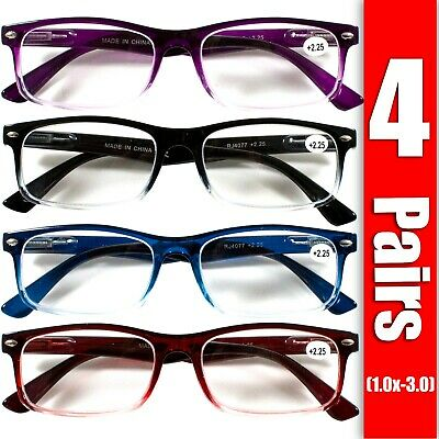 4 Pair Rectangular Spring Hinge Power Reading Reader Glasses For Mens Womens -