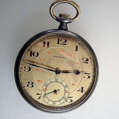 Wohl Militärisch: Taschenuhr Eterna Eisen brüniert um 1915 (42936)
