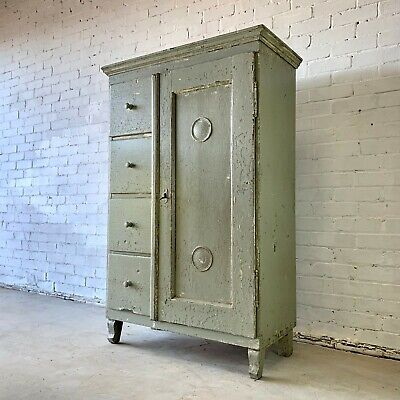 Antique Painted Pine Farmhouse Cupboard and Drawers Unit with Key
