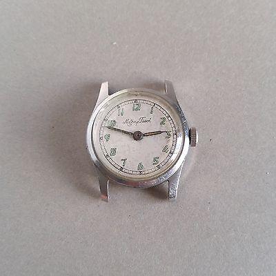 Sale Vintage Mathey Tissot Military Style Watch 32Mm Screw Back Steel Swiss 15J