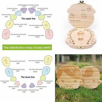 1PC Cute Wooden Baby Milk Teeth Holder Tooth Box Saver Organizer Storage Case