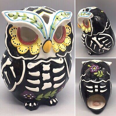 Blue Sky Sugar Skull Owl Skeleton Tealight Candle Holder Halloween Day of Dead ()