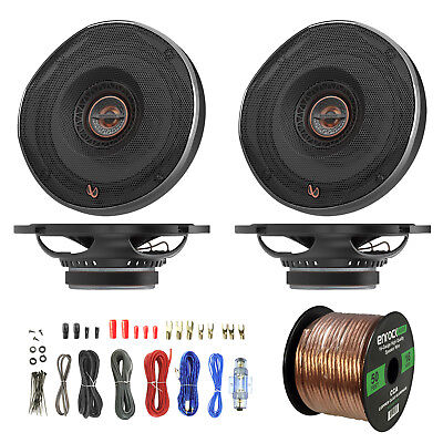 "4x Infinity 6.5"" Car Speakers, Enrock 8 Gauge Amp Install Kit, 16-G 50 Foot Wire"