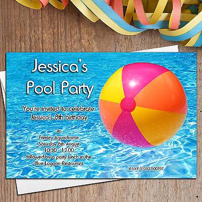 10 Personalised Swimming Pool Birthday Beach Ball Party Invitations - Beach Ball Invitation