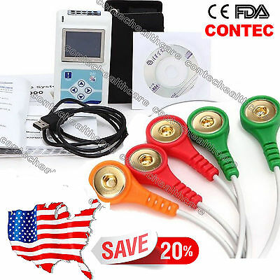 Us Stock Contec 3-channel Dynamic Ecg Ekg Holter Recorder 24 Hours Pc Sw Tlc9803