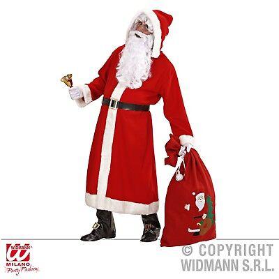 Weihnachtsmann Kostüm-Set Santa Claus Mantel Gürtel Bart Perücke Sack Brille  -3