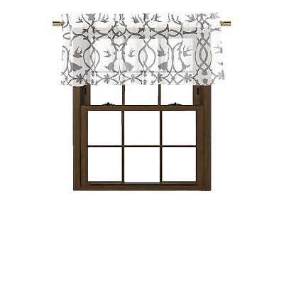 SHEER White Window Curtain Valance: Gray Bird/Flower/Vine Design 56in W x 15in L