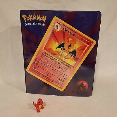 RARE 1999 ~ Pokemon Binder with Compartments for Figures ~ Charizard / Gyarados