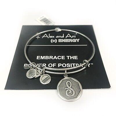 "NEW Alex and Ani Bangle Charm Bracelet Letter Initial ""S""  Rafaelian Silver"