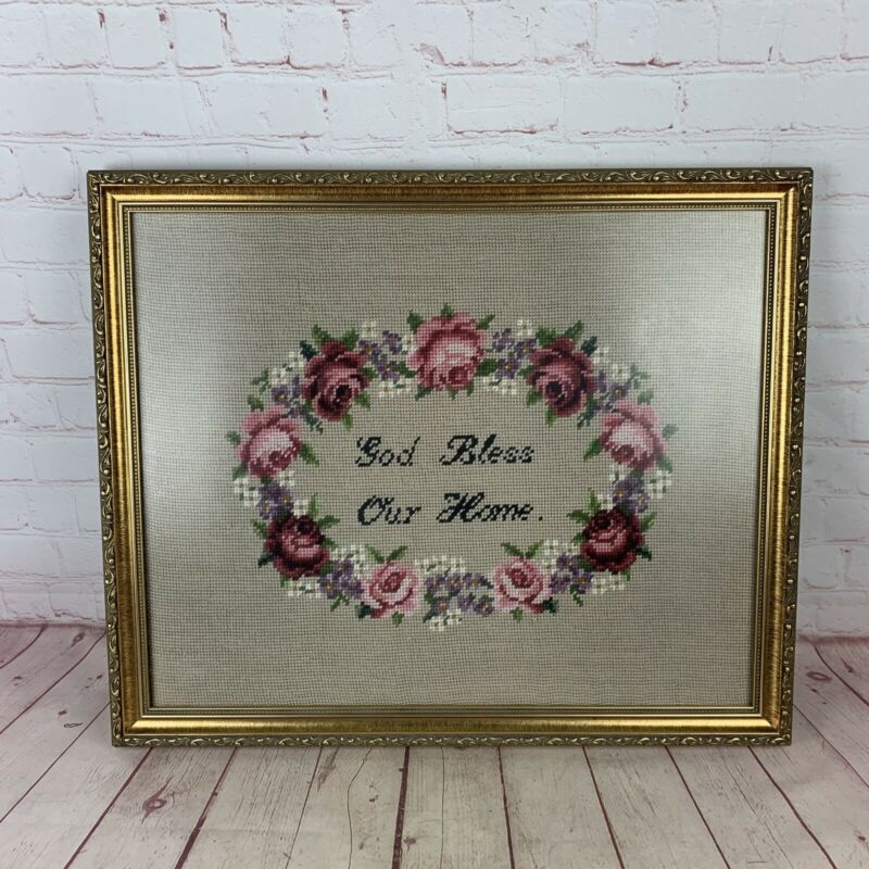 Vintage Gold Painted Wood Framed GOD BLESS OUR HOME Needlepoint Floral Sampler