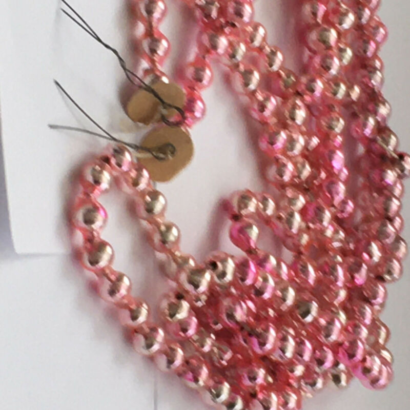 ANTIQUE PINK CHRISTMAS MERCURY GLASS BEAD GARLAND PAPER ENDS 108 IN FEATHER TREE