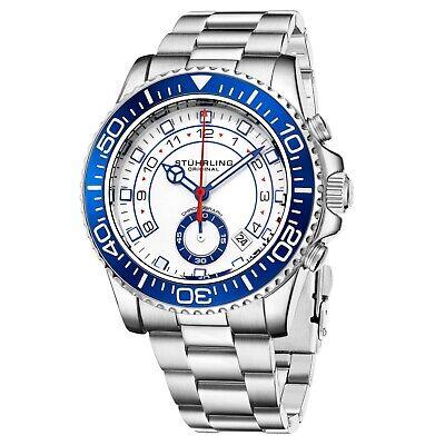 Stuhrling Men's Chronograph Diver White Dial Blue Bezel Silver Bracelet Watch