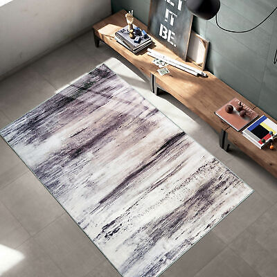 Gray Vintage Solid Cloud Modern Area Rug with Non-Slip Rubbe