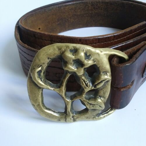Brown Tooled Leather Belt with Solid Brass Floral Motif Belt Buckle Size 40