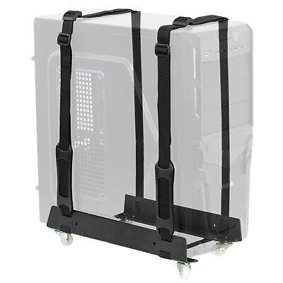 VIVO Black Mobile Under-Desk PC Adjustable Strap Mount Cart, Rolling CPU Holder