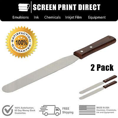 Ecotex Screen Printing Industrial Ink Spatula 12in Stainless Steel Blade 2 Pack