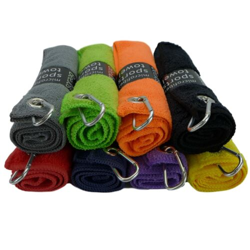 """3 pack of premium colored microfiber golf towels 16"""" X 16""""  with carabiner clip"""