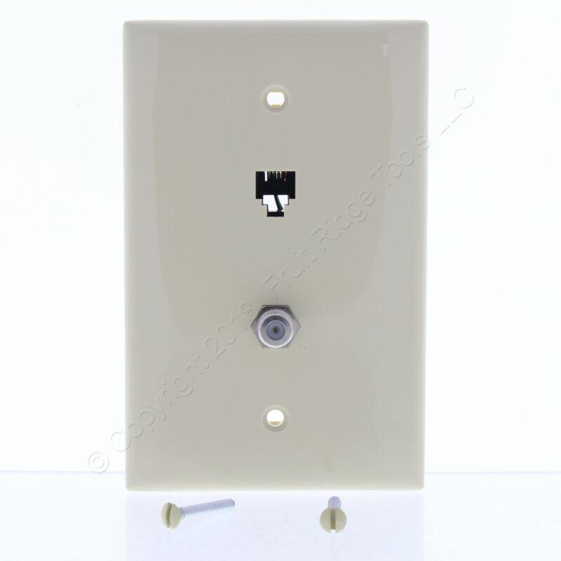 New Leviton Ivory Midway 4-Wire Modular Telephone Coax Jack Wall Plate 40539-CMI