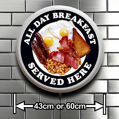 ALL DAY BREAKFAST ROUND LED ILLUMINATED SIGN CAFE RESTAURANT SHOP CATERING VAN  ()