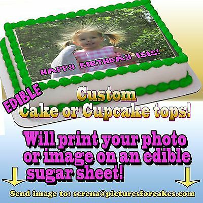 I print your photo Cake or Cupcakes Topper image SHEET picture edible custom  (Custom Cake Topper)
