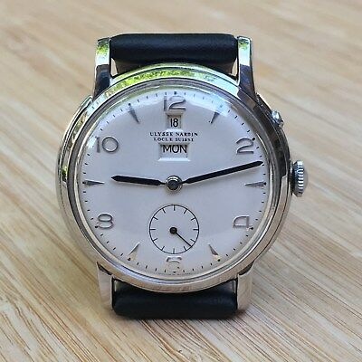 Vintage very rare ULYSSE NARDIN watch, 1950's, date & day, sub-second dial.