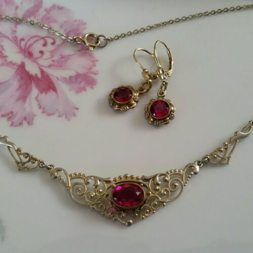 Art Deco SET zierliche Kette Collier Ohrringe pinker Farbstein Gold Double