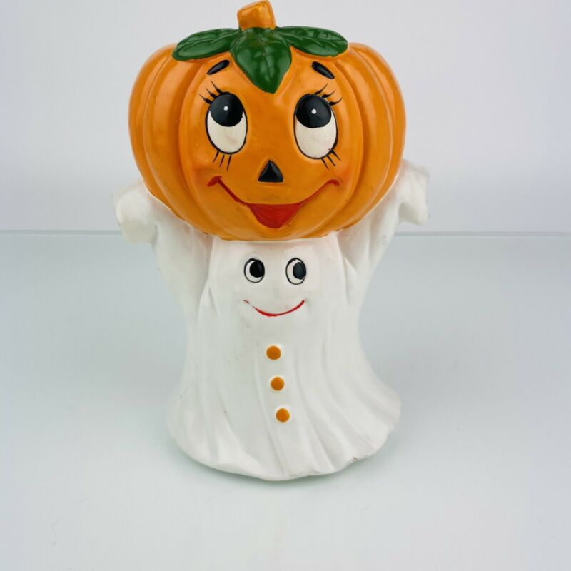 Lefton Halloween GHOST and PUMPKIN Tea Light Candle Holder With Votive Vintage