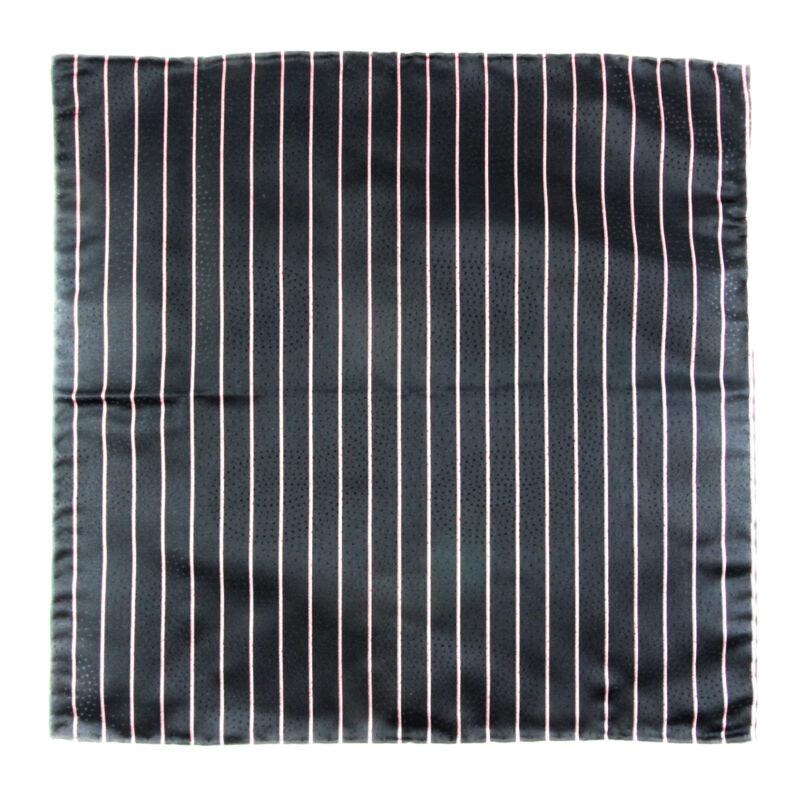 New SANTOSTEFANO Handmade Black Pink Stripe Silk Pocket Square Handkerchief $150