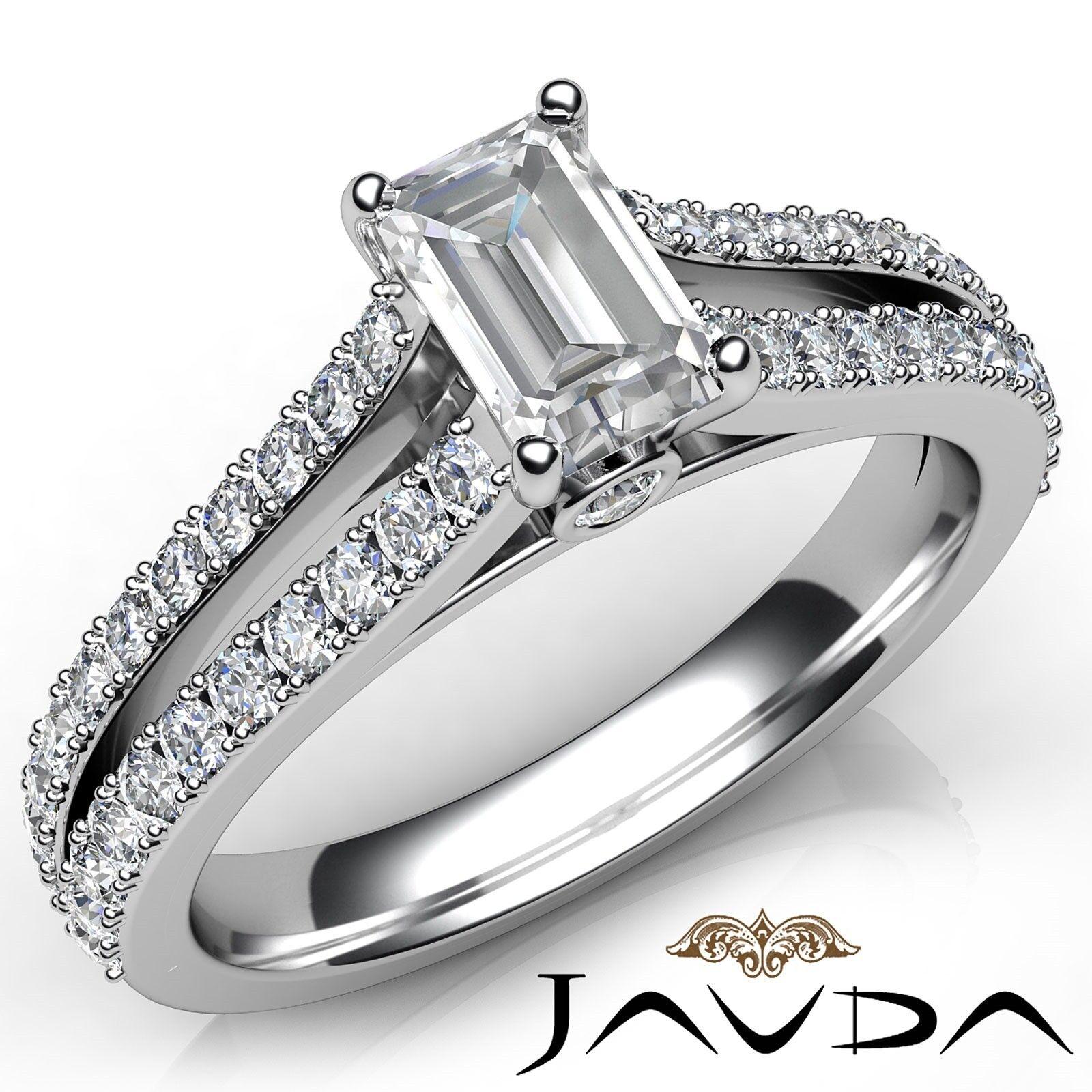 1.15ctw Prong Split Shank Emerald Diamond Engagement Ring GIA E-VS2 White Gold