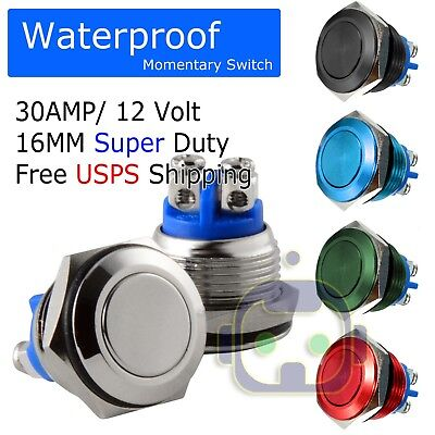 30 AMP METAL MOMENTARY WATERPROOF SWITCH 12V16mm 5/8 HORN STARTER NITROUS BUTTON ()