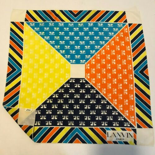 "Lanvin Paris MultiColor Geometric Print Soie Silk Scarf 23"" x 23"" Made in France"