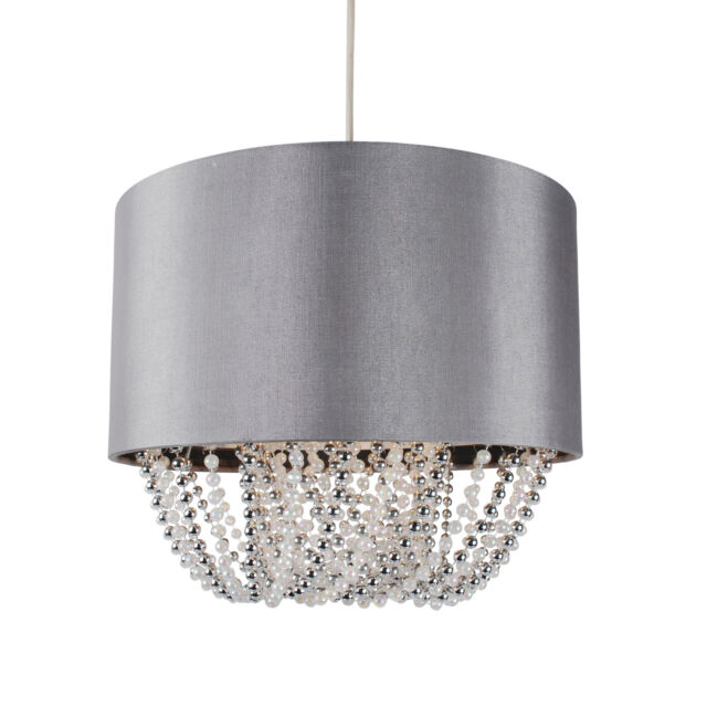 Beaded grey light shade ceiling pendant fabric silver sparkle easy modern easy fit drum shade grey fabric ceiling pendant light shade chandelier aloadofball Choice Image