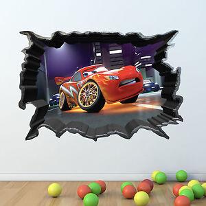 disney cars 3d full multi colour wall sticker vinyl art huge 3d arched window princess view wall stickers film